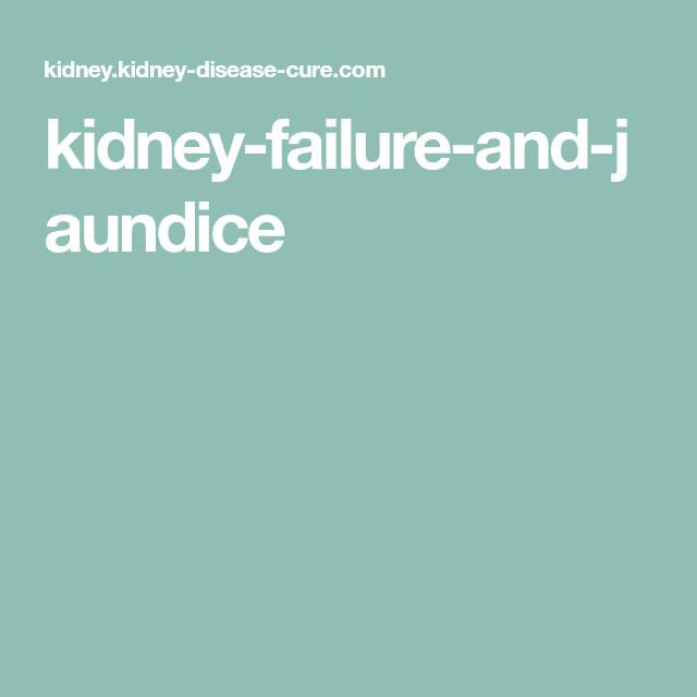 Kidney Failure And Jaundice Kidney Disease Diet Kidney Kidney Failure