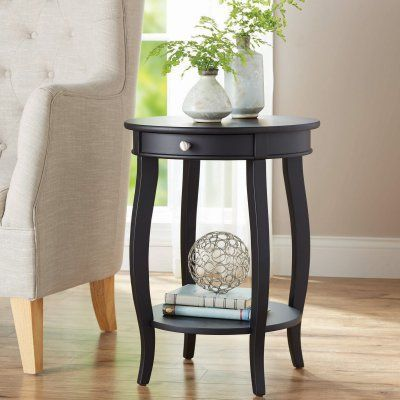 Better Homes And Gardens Round Accent End Table 13102krkdw Round Accent Table Small Accent Tables Side Table With Drawer