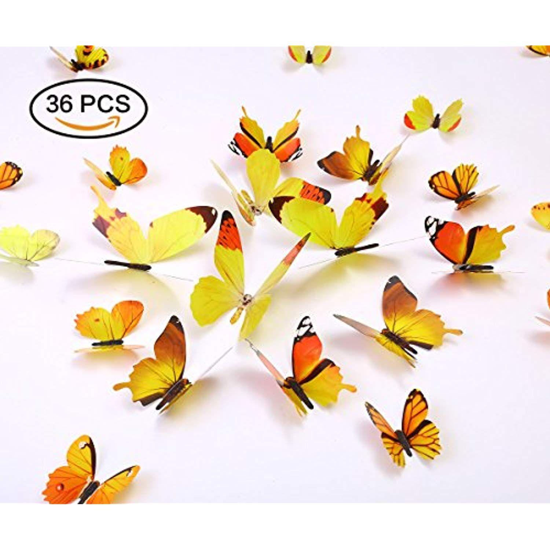 Kakuu 36PCS Butterfly Wall Decals - 3D Butterflies wall stickers ...