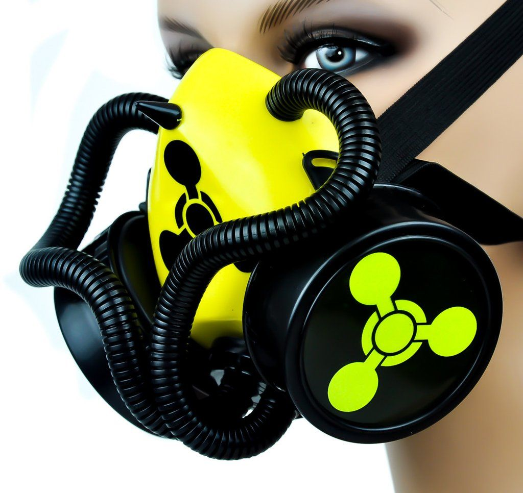 Chemical Weapons Sign / Tubes Single Respirator Gas Mask   Party ...