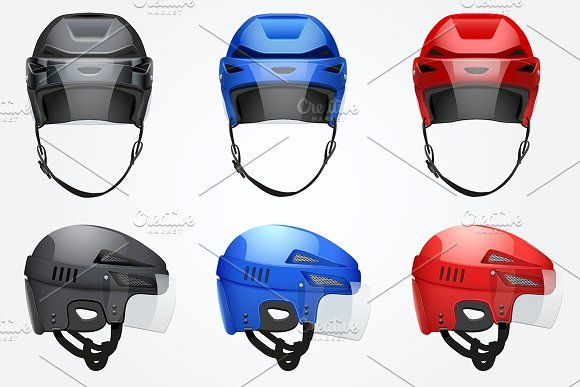 Classic Vector Hockey Helmet Set Hockey Helmet Helmet Sport Icon