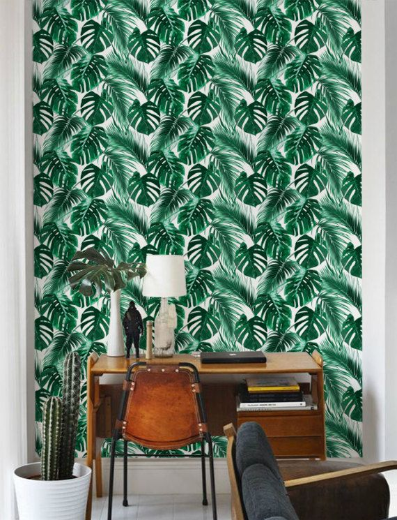 Stunning Palm Leaf Wallpaper Removable Self Adhesive Wallpaper Monstera Leaf Pattern Wall Covering Palm Leaf Wallpaper Leaf Wallpaper Tropical Wallpaper