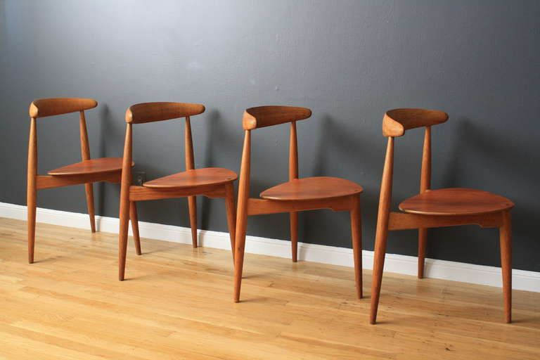 This Is A Set Of Four Vintage Mid Century Stacking Chairs Designed By Hans  J. Wegner For Fritz Hansen, Denmark, In The 1950u0027s. Solid Oak / Teak Seats.