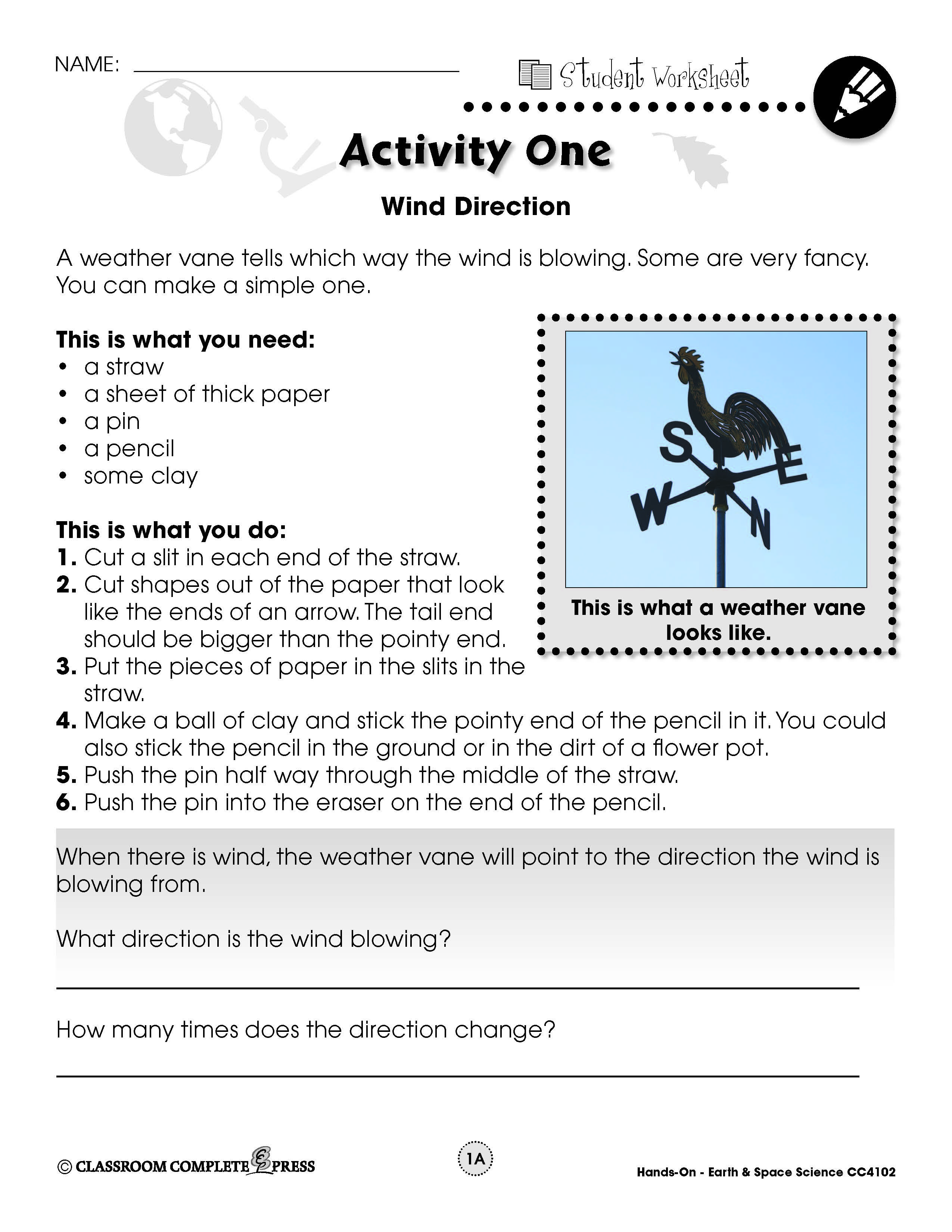 Make Your Own Weather Vane In This Free Experiment From Ccp Interactive A Division Of Classroom Learning Weather Earth And Space Science Fourth Grade Science