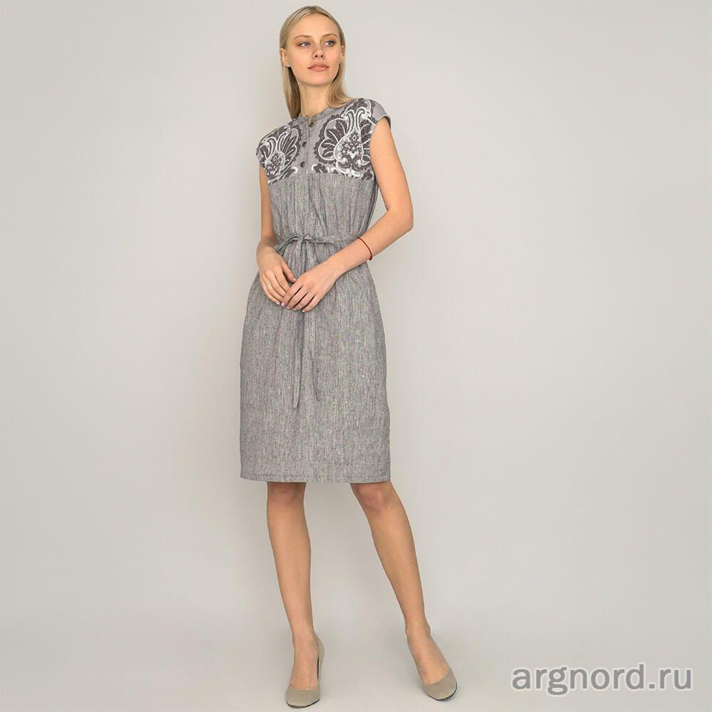 Платье женское изо льна - Арт. 18ф011 - Волтри (рис. 1)  08567466aaaff
