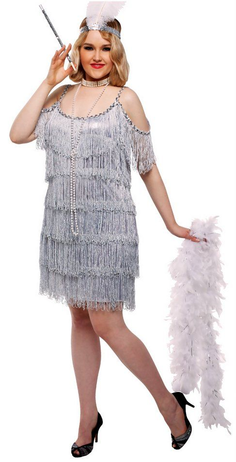 Plus Size Womens Silver Fringed Martini Flapper Costume Costume