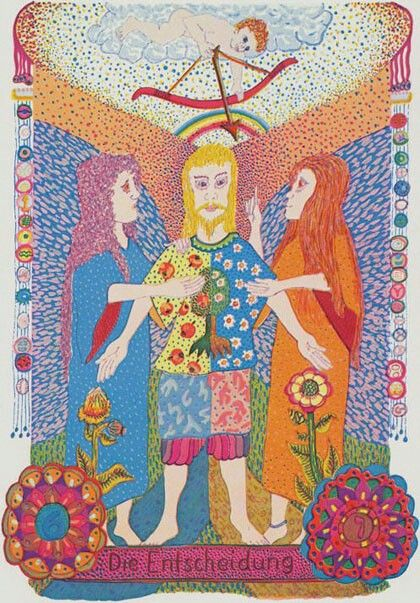 Zigeuner Gypsy Tarot also known as the Gipsy Tarot Tsigane - The Lovers