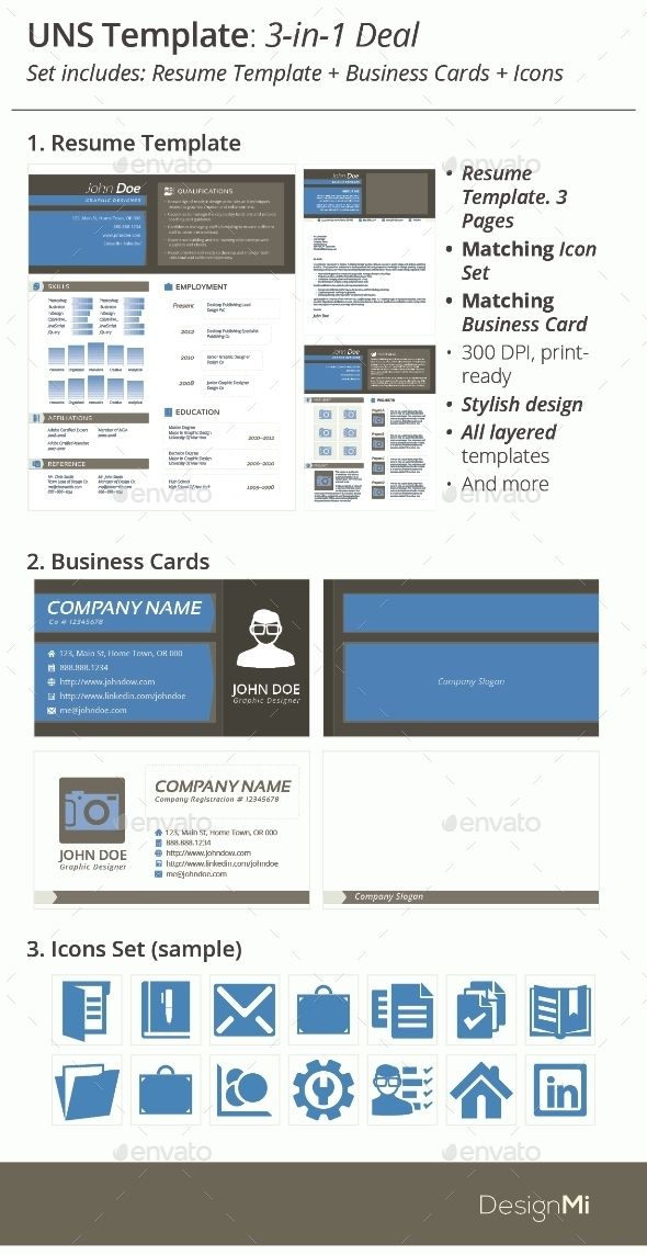 3-in-1 Deal Resume Template + Icons + Business Card, UNS Template - resume deal