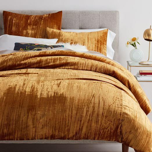 Crinkle Velvet Duvet Cover Shams Golden Oaks Velvet Duvet Bed Linens Luxury Best Bed Sheets