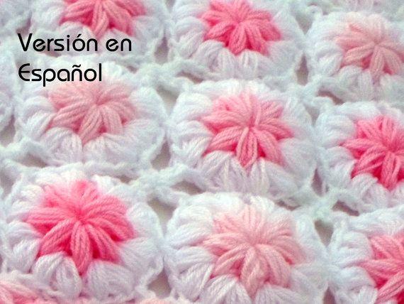 Crochet Baby Blanket Pattern. SPANISH VERSION. \