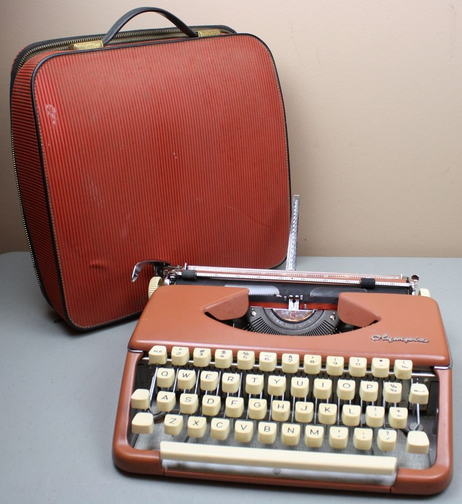 Vintage Olympia Portable Manual Typewriter With Case Copper Brown Color