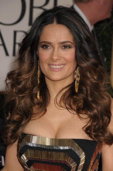Salma hayek con su melena con ondas en los globos de oro - Peinados de fiesta media melena ...