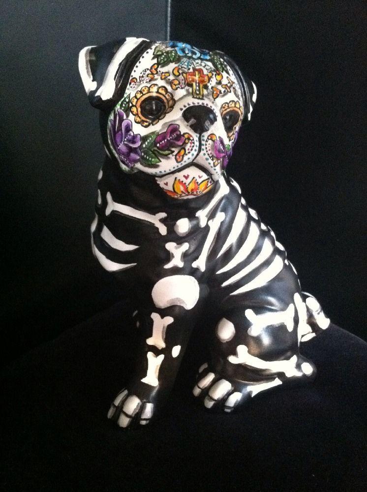 Day Of The Dead Painted Sugar Skull Dog Statue Pug Figurine Dia De