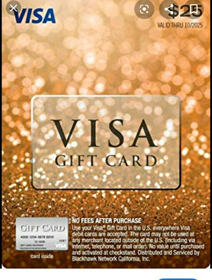 25 GIFT CARD ACTIVATED No Fees After Purchase. Non