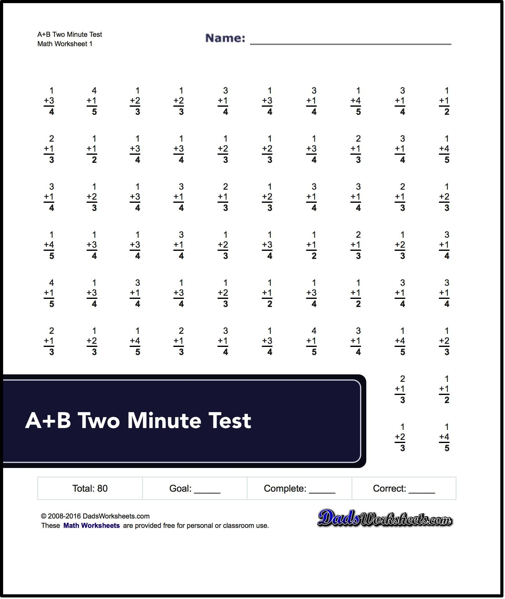 Addition Worksheets Two Minute Tests Math Worksheets Subtraction Worksheets Math