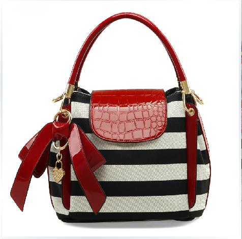 39e4737622 grdx02075 fashion Bowknot Lovely zebras stripe woman handbag ...
