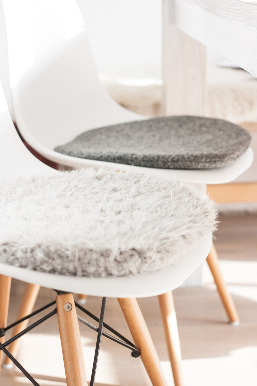 Seat Cushion For Eames Chair In Light Grey Cuddly Fur Stuhlkissen Sitzkissen Eames