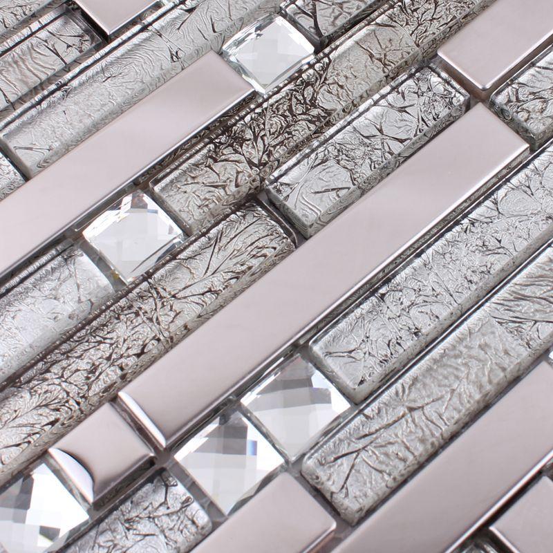 Glass And Metal Tile Backsplash Ideas Bathroom Stainless