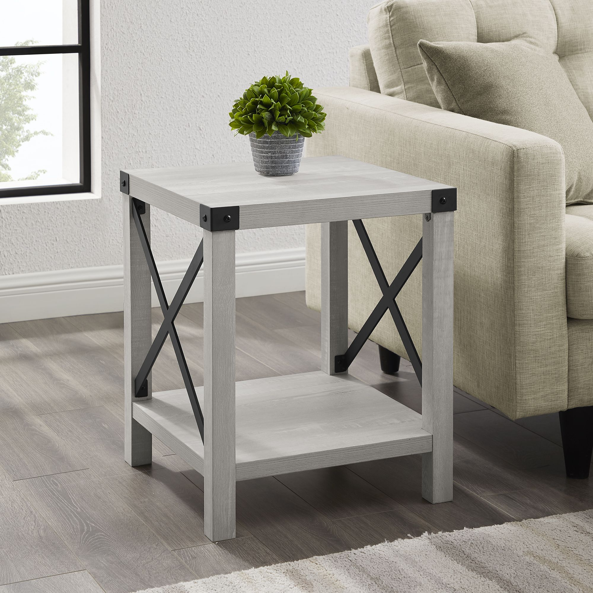 Free 2 Day Shipping Buy Magnolia Metal X Stone Grey End Table By Desert Fields At Walmart Com In 2021 End Tables Table Decor Living Room Living Room End Tables [ 2000 x 2000 Pixel ]