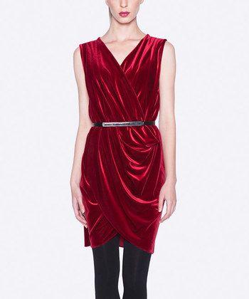 Burgundy Belted Sleeveless Tulip Dress