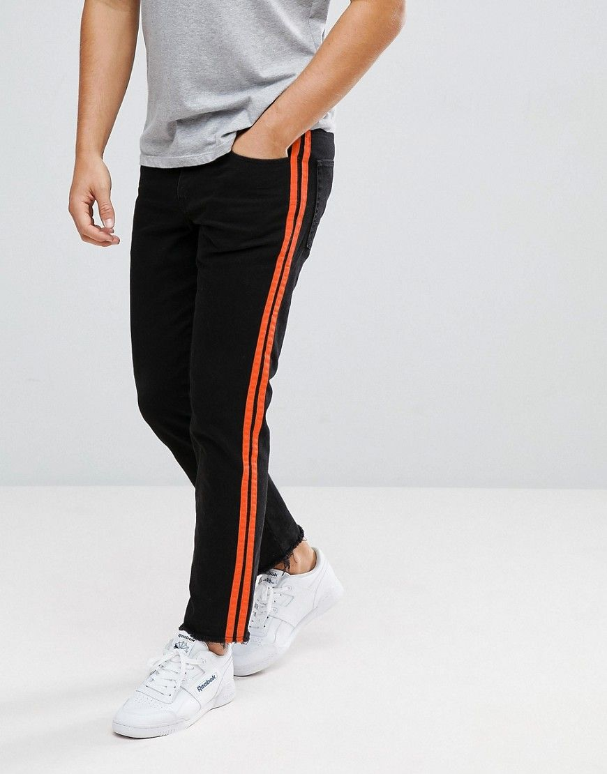 Official Site For Sale Stretch Slim Ankle Grazer Jeans In Black With Orange Side Stripe - Black Asos Clearance Popular Buy Cheap Visa Payment Outlet Explore kPZ1CWzi