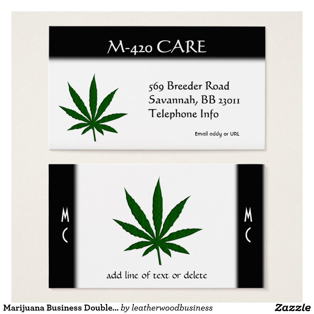 Marijuana Business Double Sided Business Card | Weed | Pinterest