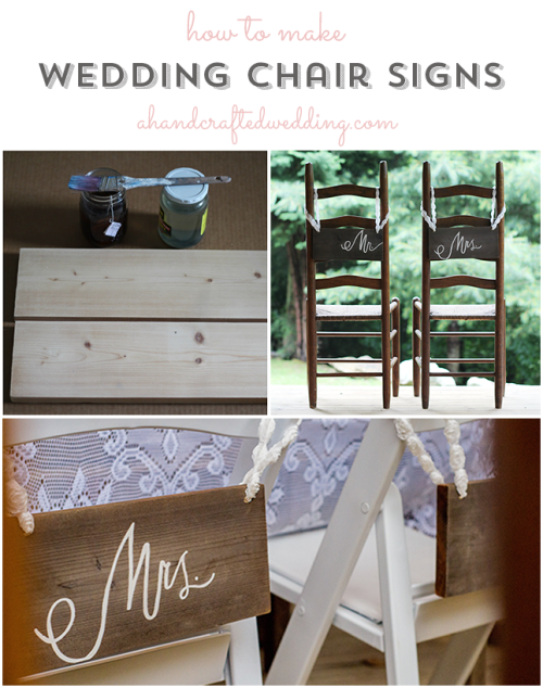 DIY Wedding Chair Signs For Bride And Groom