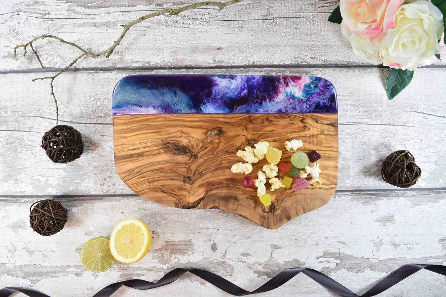 Resin Decorated Olive Wood Spoon Rest Ocean Inspired Functional Art