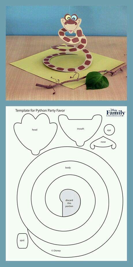 Serpent en papier avec gabarit papier et carton bricolage enfant activit manuelle jungle - Gabarit maison en carton ...
