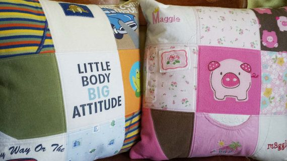 Custom memory keepsake pillow handmade patchwork by AcornKid