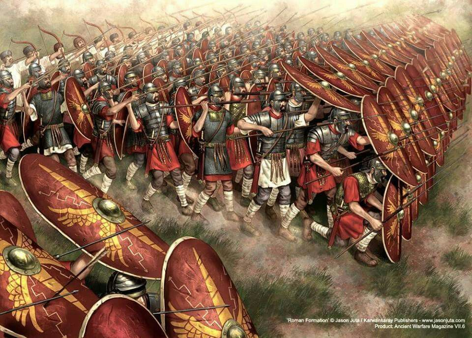 Roman Army in one of their battle positions | Ancient ...