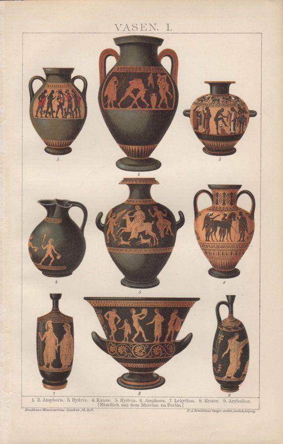 1898 Greek Pottery Antique Print Vintage Lithograph Ceramic Vases