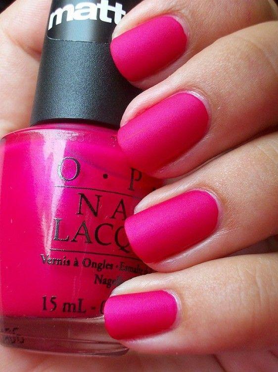 Matte hot pink nails.  Cute!