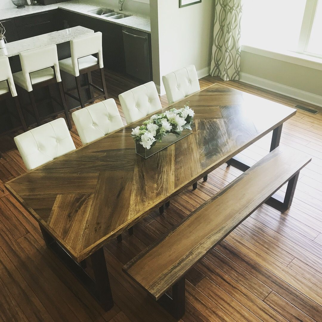 My Beautiful Custom Made 8 Dining Table Herringbone Pattern Wide
