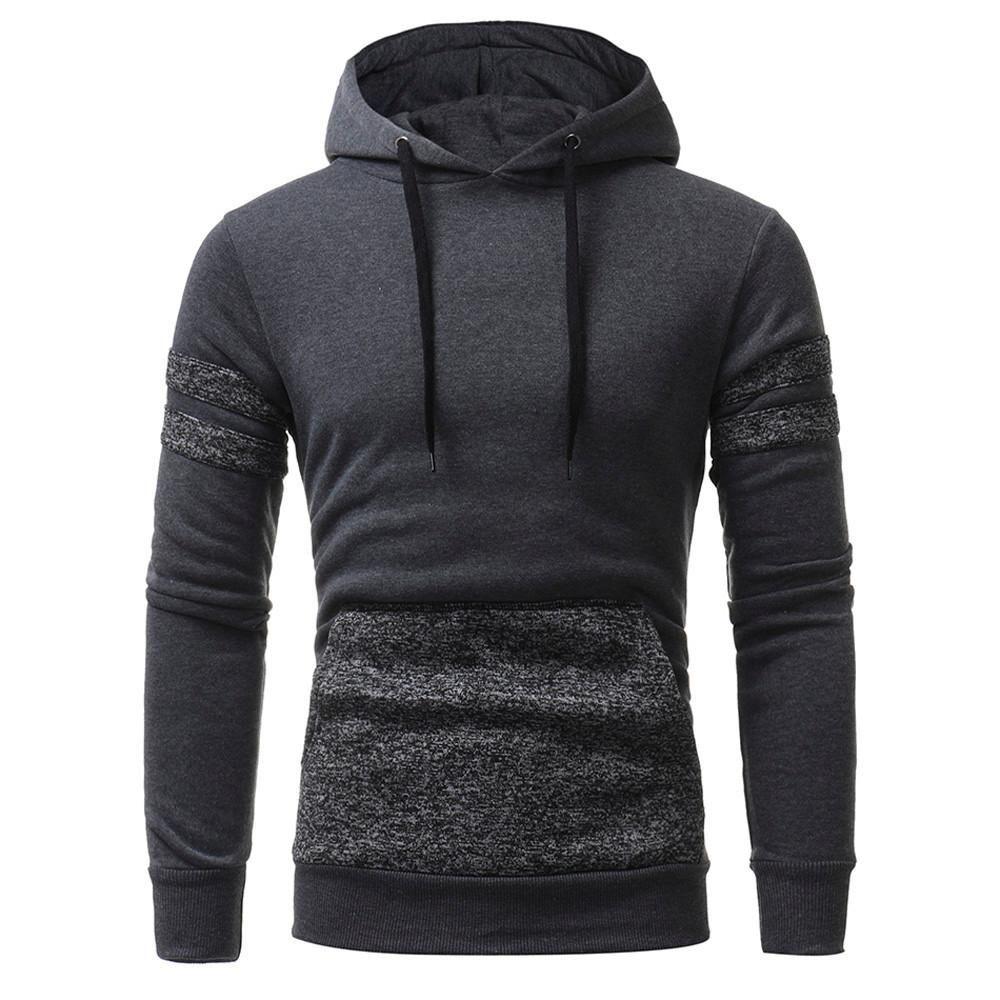 Mens Long Sleeve Hoodie Hooded Sweatshirt Sweater Slim Coat Jacket Outwear Tops