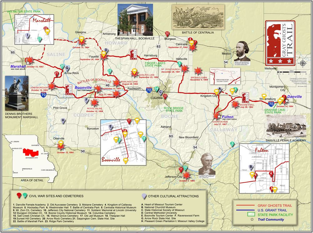 University Of Central Missouri Map.Gray Ghosts Trail Map Missouri Civil War A Fun Route To Driving