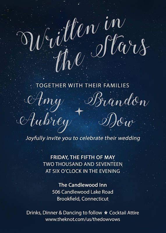 custom star themed wedding invitation suite printable written in
