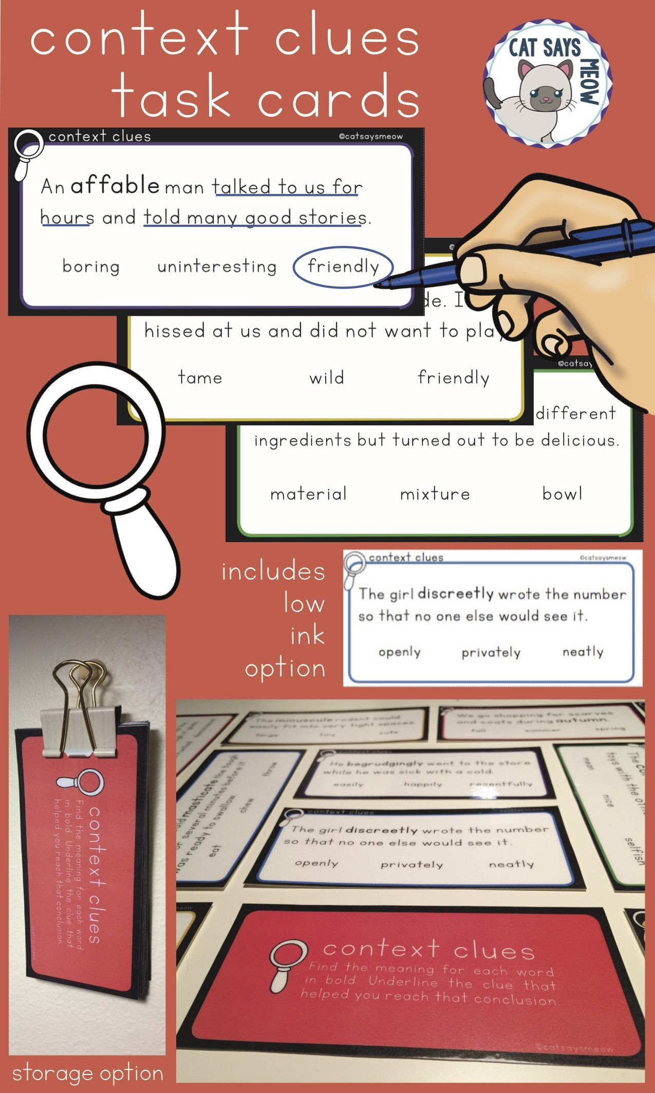 Context Clues Task Cards With Answer Choices Field Of 3