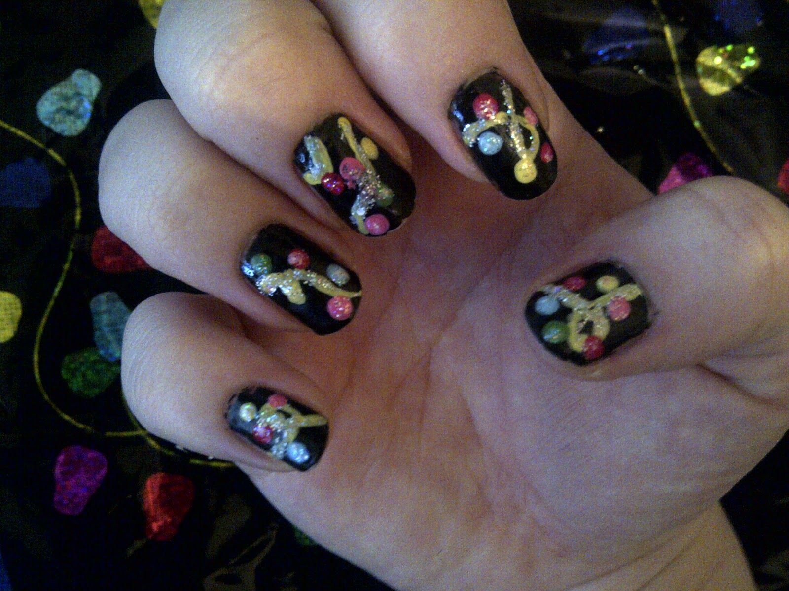 Dagadelic december nails theme inspired by gift wrap nail ideas