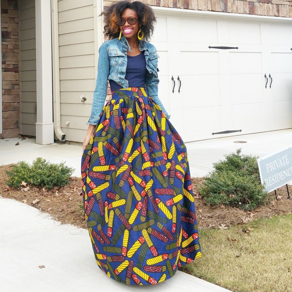 Ankara wax cotton maxi skirt. African print. Handmade also