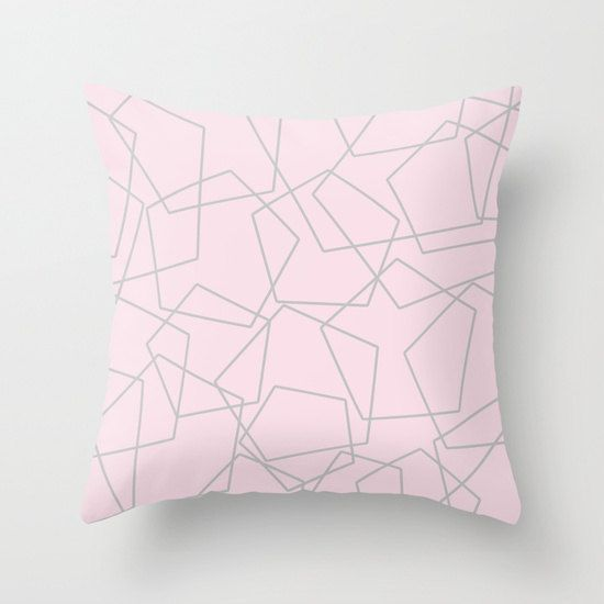 Grey And Pink Decorative Pillows : Throw pillow cover - pastel pink and grey pentagon geometric cushion cover Beauty ETSY ...