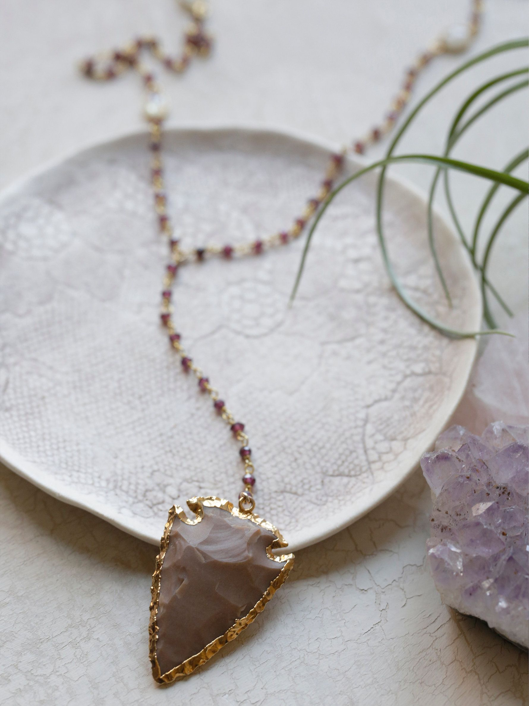 Yael Arrow Rosary | Beautiful lariat style long necklace featuring a statement agate arrow pendant on a stone chain. Adjustable lobster clasp closure. American made.