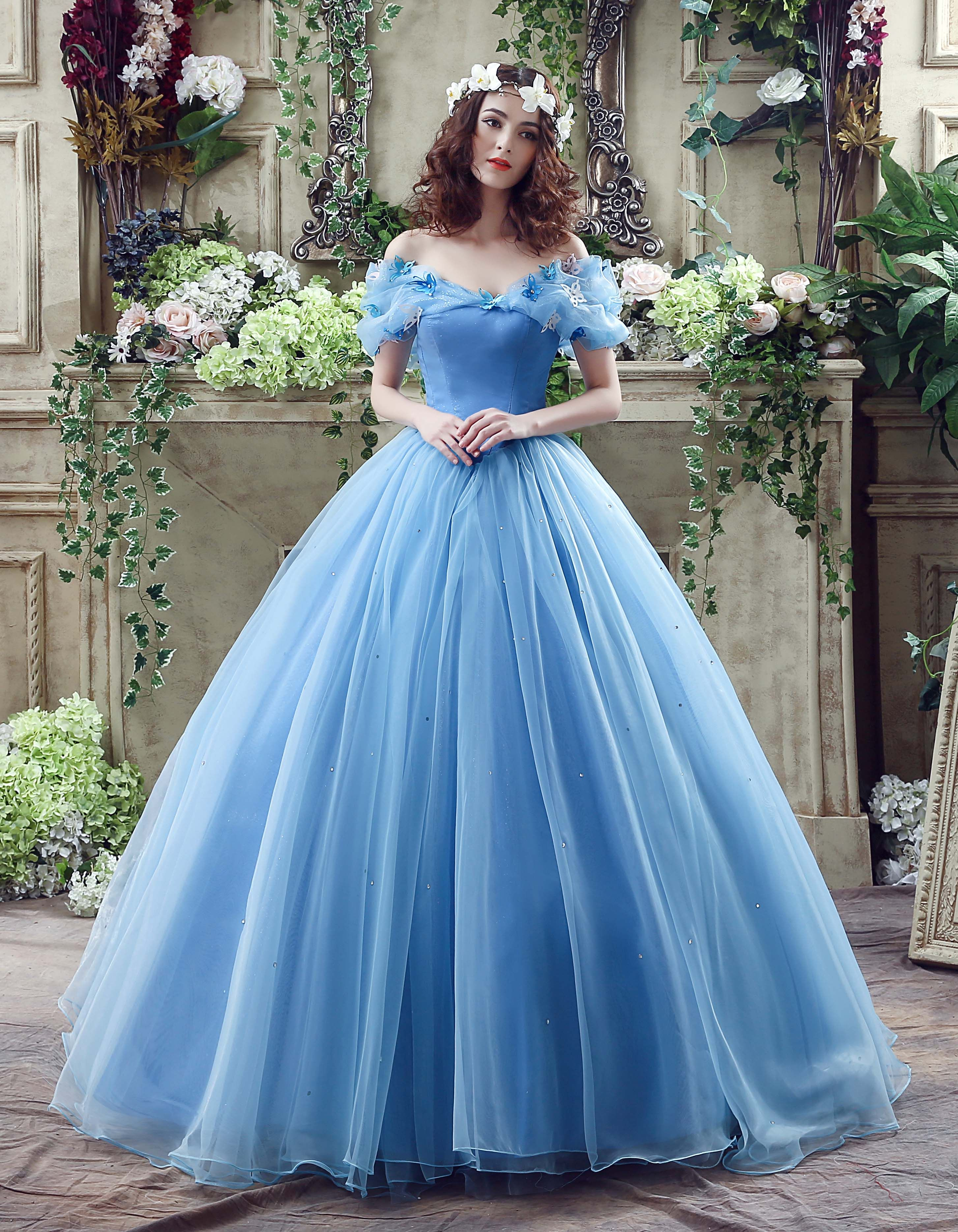 Ball Gown Off Shoulder Sweep/Brush Train Blue Tulle Wedding Dresses ...