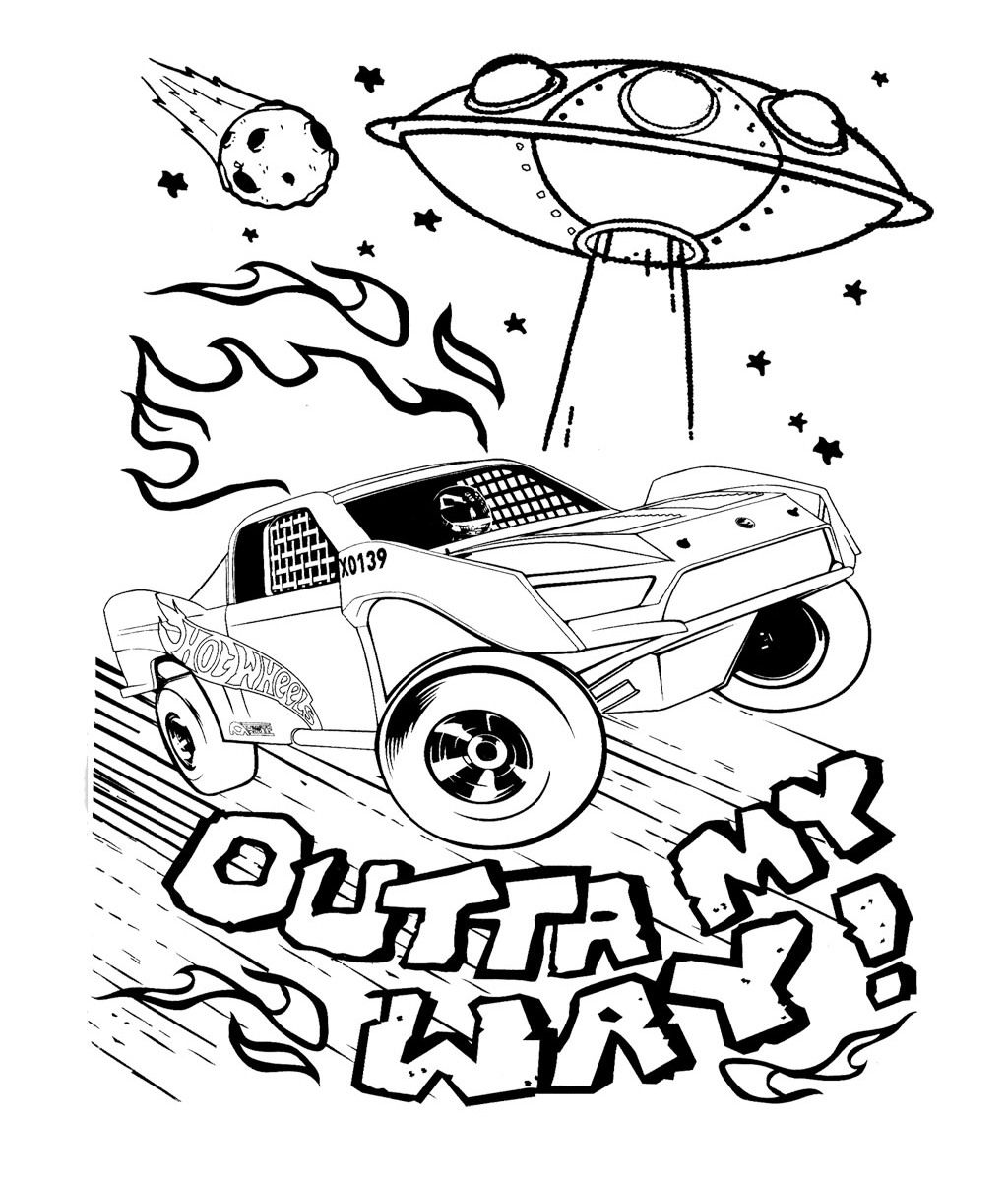 Car hot wheels and alien spacecraft coloring pages sunday school