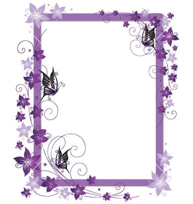 Purple Flower Borders and Frames | Purple frame flowers vector ...