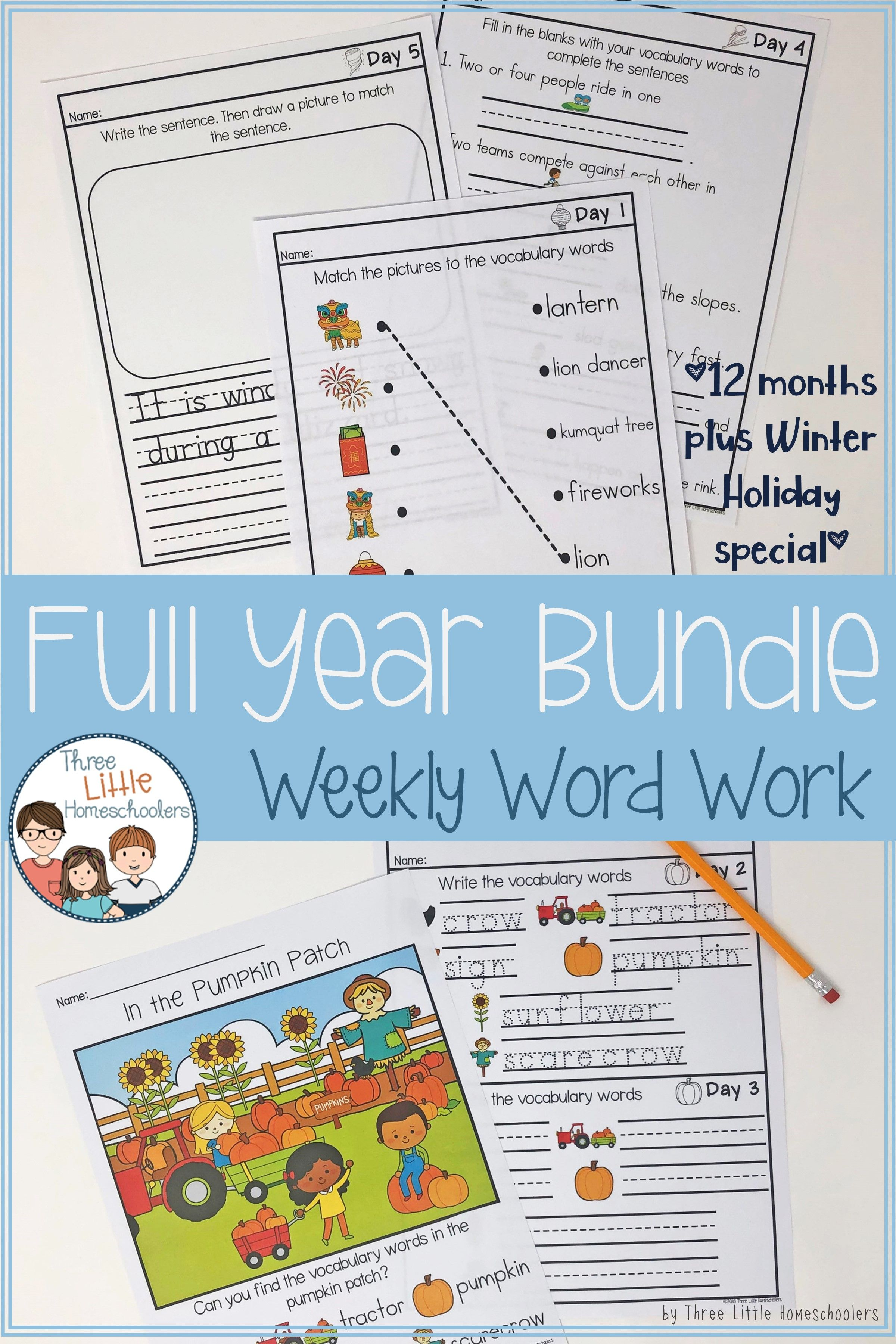 Daily Weekly Thematic Vocabulary Word Work Full Year Bundle
