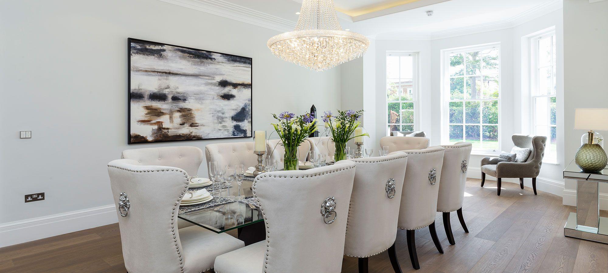Cream Velvet Deep Buttoned Lion Knocker Dining Chair High Back