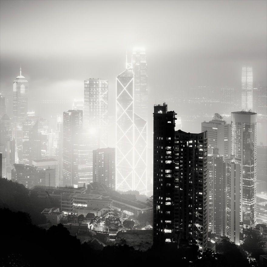 Black And White Photos Of Mega Cities At Night | Bored Panda