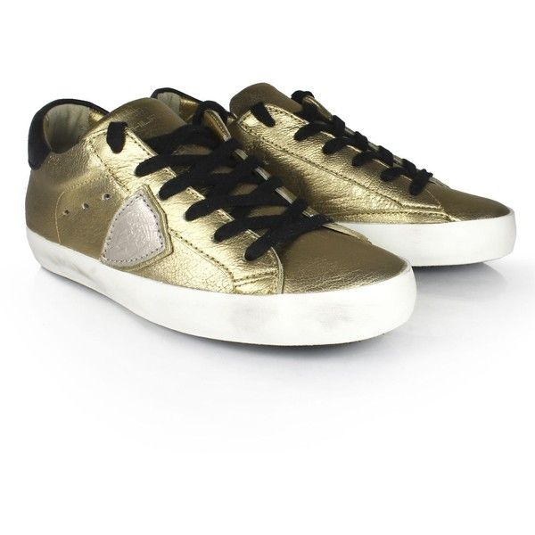 Philippe Model Sneakers (€221) ❤ liked on Polyvore featuring shoes, sneakers, metallic gold, lace up sneakers, leather lace up sneakers, round toe shoes, round cap and round toe sneakers