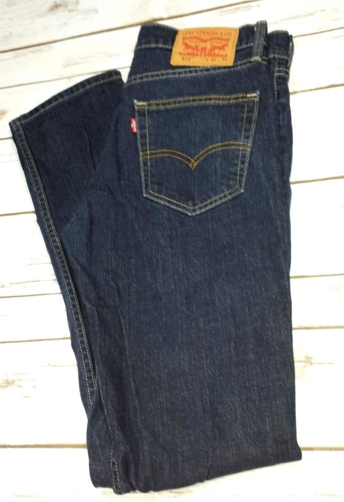 383a113f0968de Men's Levi's 511 Slim Fit Stretch Jeans Measures 31x31.5 Tagged 32x34 Dark  Wash #LeviStraussCo #SlimSkinny